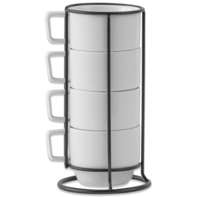 B. Smith Stacking Mugs with Metal Rack (Set of 4)