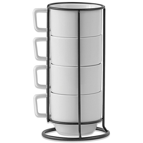 Buy B Smith Stacking Mugs With Metal Rack Set Of 4 From