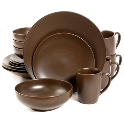 Gibson Paradiso 16-Piece Round Dinnerware Set in Brown