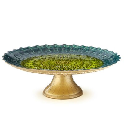 Padma Sage & Teal Footed Cake Stand