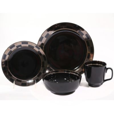 Baum Checkered 16-Piece Dinnerware Set in Black