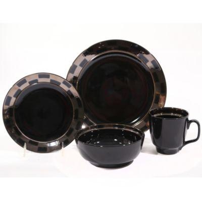 Baum Checkered 16-Piece Dinnerware Set in Black