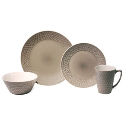 Baum Pyramid 16-Piece Dinnerware Set in Grey
