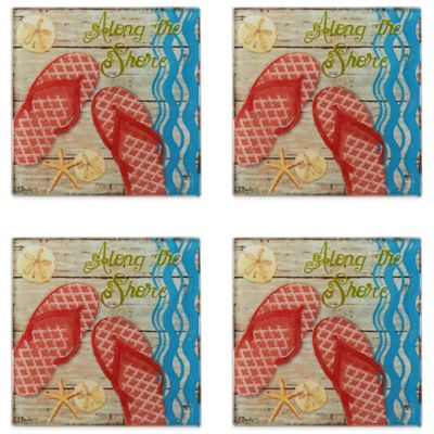 Pfaltzgraff® Hit The Beach Glass Coasters (Set of 4)