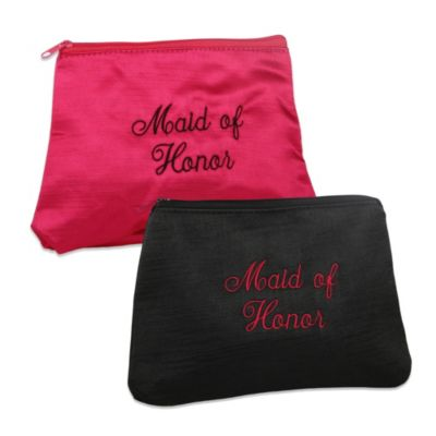 Ivy Lane Design™ Embroidered Maid of Honor Cosmetic Bag in Pink