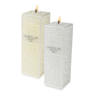 Ivy Lane Design™ Embossed Flourish Square Pillar Candle in Ivory