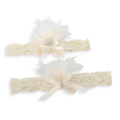 Ivy Lane Design™ Vintage Feather Brooch Medium Garter Set in Ivory