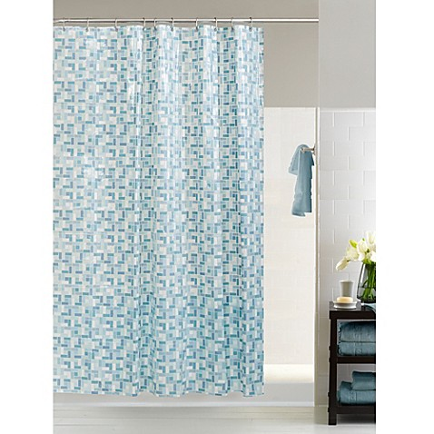 Buy Stained Glass 54 Inch x 78 Inch Shower Curtain in Blue