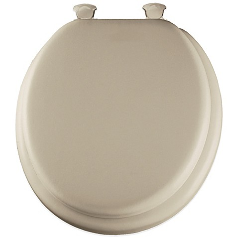 Round Soft Toilet Seat With Durable Wood Core In Bone