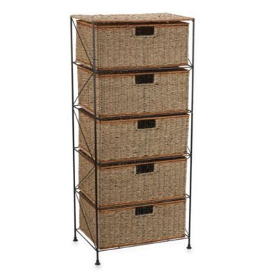 Household Essentials® Seagrass/Rattan 5 Drawer Storage Unit