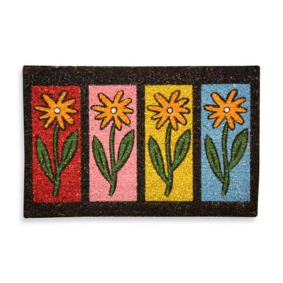 Flower Row Coir Door Mat