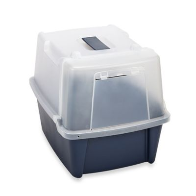 IRIS USA Split-Hood Litter Pan in Blue