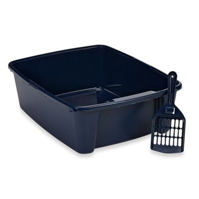 IRIS USA 6-Inch High Cat Litter Pan with Scoop in Blue
