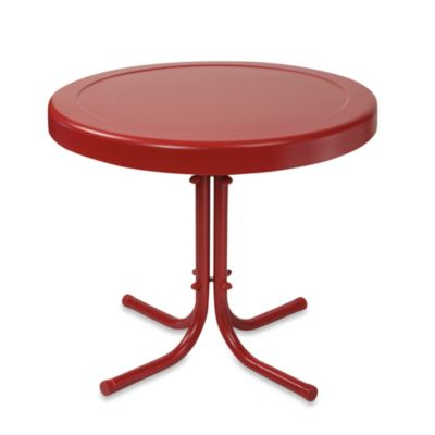 Crosley Griffith Outdoor Metal Side Table in Coral Red