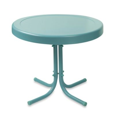 Crosley Griffith Outdoor Metal Side Table in Caribbean Blue