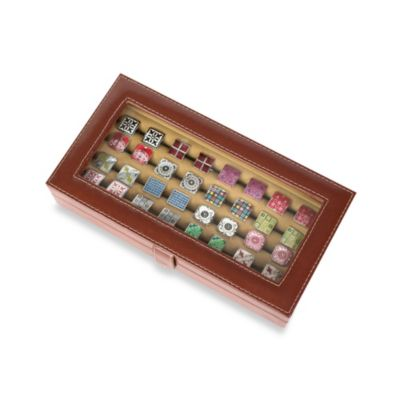 20-Pair Leather Cufflink Case in Brown