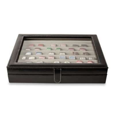 36-Pair Leather Cufflink Case in Black