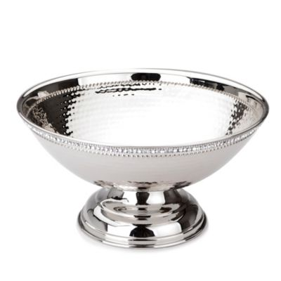 Classic Touch Hammered Stainless Steel Round Footed Bowl