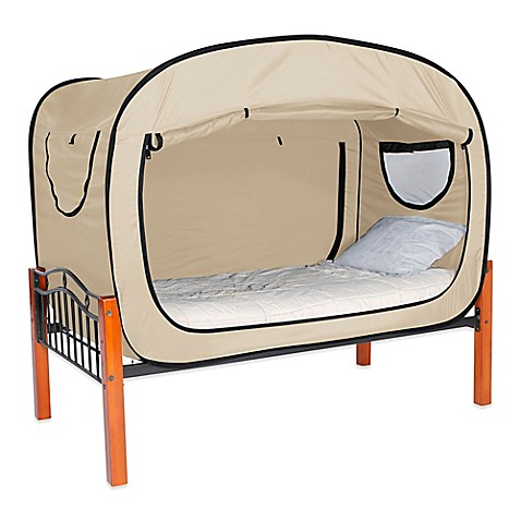 buy privacy pop size queen bed tent in tan from bed bath beyond. Black Bedroom Furniture Sets. Home Design Ideas