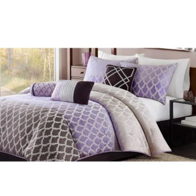 Madison Park Bayer 7-Piece King Comforter Set in Purple