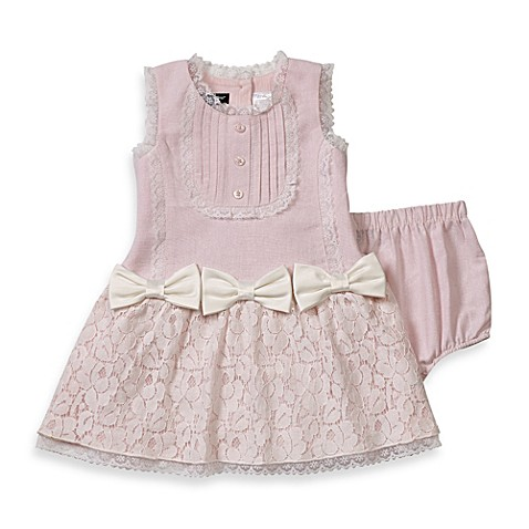 Wendy Bellissimo™ 2 Piece Linen and Lace Dress Set in Pink