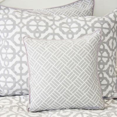 Mod Lattice Throw Pillow in Grey