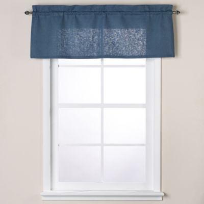 Soho 17-Inch Linen Window Valance in Indigo