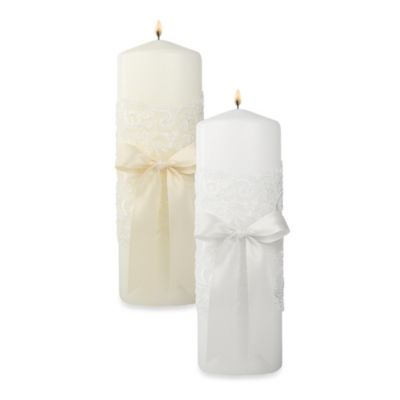 Ivy Lane Design™ Chantilly Lace Pillar Unity Candle in White