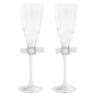 Ivy Lane Design Glamour Toasting Flutes in White (Set of 2)