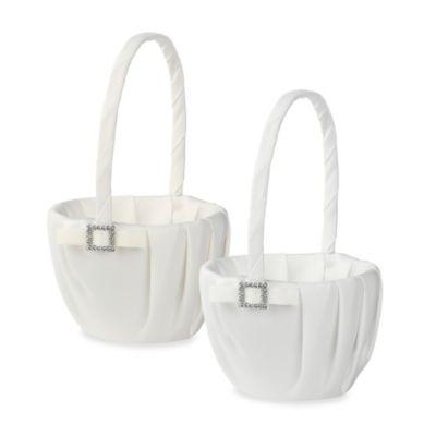 Ivy Lane Design Glamour Flower Girl Basket in White