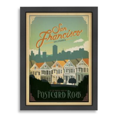 Americanflat San Francisco Postcard Row Framed Wall Art