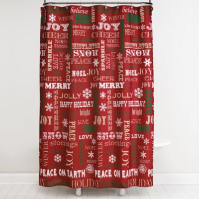 Happy Holidays Shower Curtain and Hook Set
