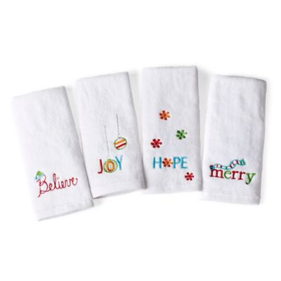 Winter Brights Embroidered 4-Piece Fingertip Towel Set
