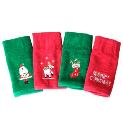 Christmas Fingertip Towel in Red/Green (Set of 4)