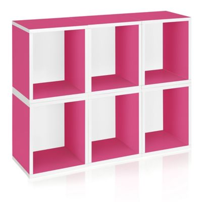 Way Basics Storage Cubes Plus and Bookcase in Pink (Set of 6)
