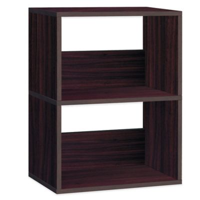 Way Basics Duplex 2-Shelf Bookcase in Espresso