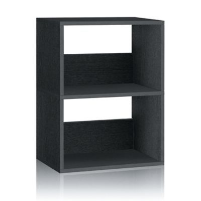 Way Basics Duplex 2-Shelf Bookcase in Black