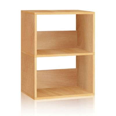 Way Basics Duplex 2-Shelf Bookcase in Natural