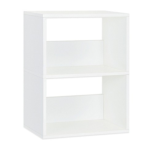 way basics duplex 2 shelf bookcase in white buybuy baby. Black Bedroom Furniture Sets. Home Design Ideas