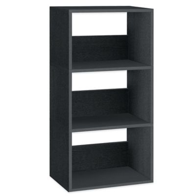 Way Basics 3-Shelf Triplet Bookcase in Black