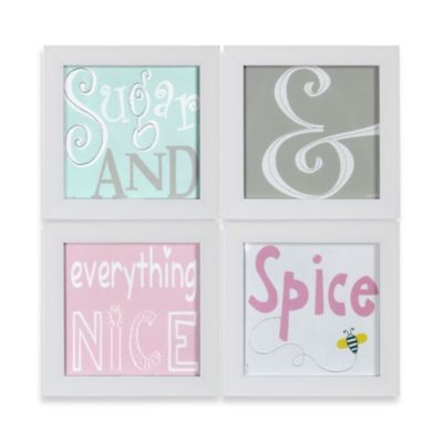Sugar & Spice Stitched Nursery Prints Framed Art (Set of 4)