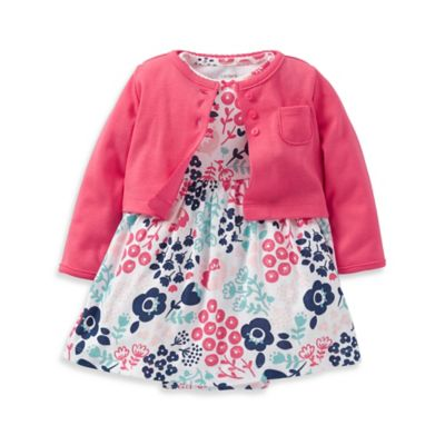 Carter's® Size 6M Floral Print Dress with Cardigan