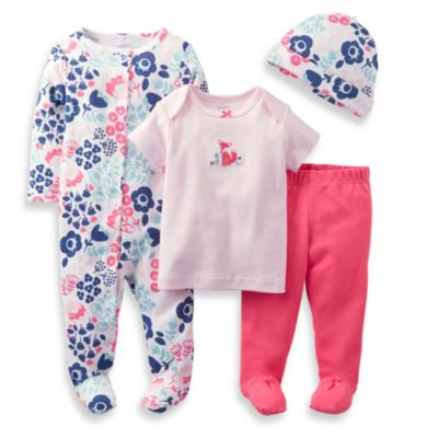 Carter's® 4-Piece Floral Footie Set in Pink/Navy