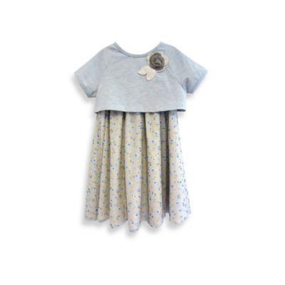 Pippa & Julie Knit Popover Top Dress in Grey/Blue