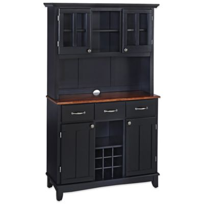Home Styles Buffet Server with Wood Top in Black