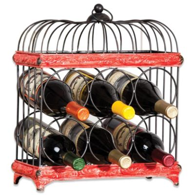 Red and Black Bird Cage Wine Rack