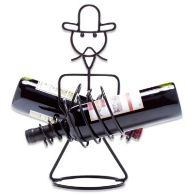 Oenophilia Rodeo Cowboy 2-Bottle Wine Holder in Black Finish
