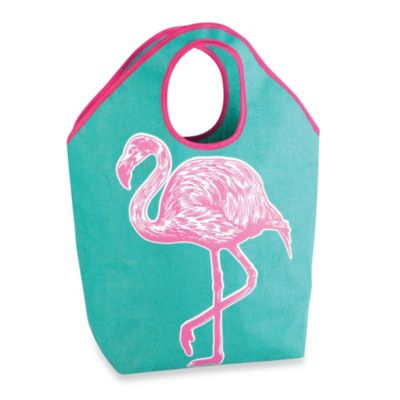 Oversized Jute Tote with Flamingo Icon