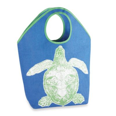 Oversized Jute Tote with Turtle Icon