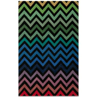 Momeni Delhi 3-Foot 6-Inch x 5-Foot 6-Inch Wool Rug in Black/Chevron